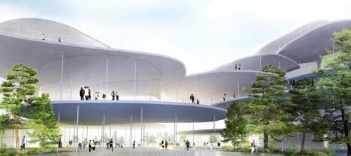 メインエントランス側から見た新ホールのイメージ(資料:石上純也建築設計事務所)