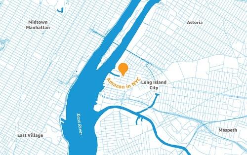 ニューヨーク市におけるアマゾン第2本社の立地。イースト川の中州にコーネル・テックがある