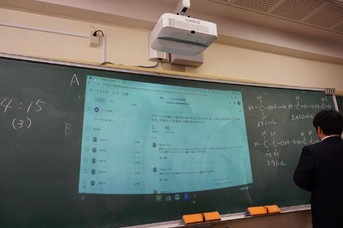 クラスルームに各グループが書き込んだ内容は、プロジェクターで黒板に映写して即座に共有できる