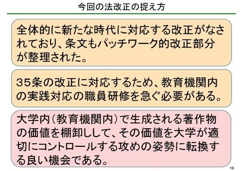 木村教授は著作権法改正への対応と、大学が著作権を持つ著作物の活用を呼び掛けた