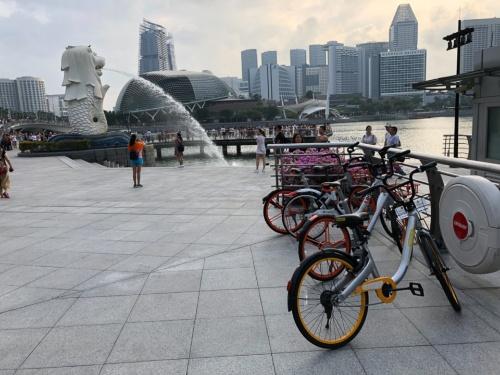 シンガポールのマーライオン公園にあるシェアサイクルのポート(2018年6月撮影)
