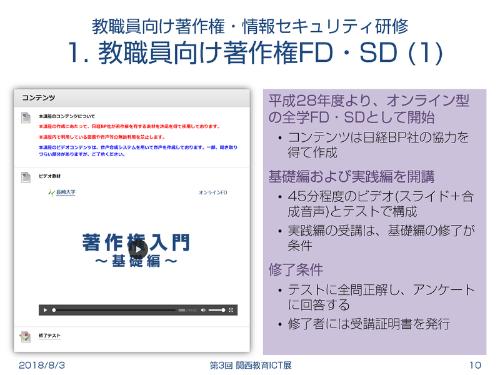 長崎大学で実施している教職員向けの著作権・情報セキュリティ研修。コンテンツ作成には「日経パソコンEdu」も利用している