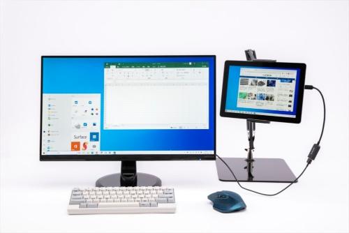 小型タブレットパソコンを取り付けて外付けディスプレーと組み合わせる使い方もできる。スプリングアームスタンドを使って、タブレットパソコンを外付けディスプレーと同じ高さに設置できる