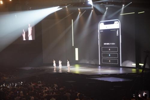 NTTグループが横浜アリーナに設営した「高効率Wi-Fi」を使い、1万2000人の観客がスマホで同時接続。Perfumeからの質問に答えるという新しいライブ体験。この仕組みは現場では「アンケートシステム」と呼ばれていた