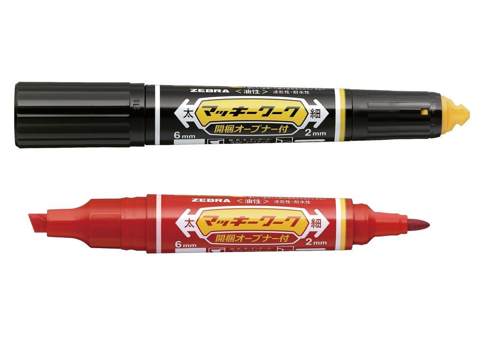 ゼブラの「マッキーワーク」。価格は180円(税別)。色は黒と赤の2種類 (出所:ゼブラ)