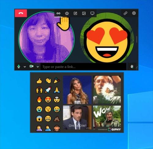 利用者の映像にフィルター(加工)をかけたり、GIF画像を乗せたりできる。下側は絵文字やGIF画像を選ぶパレット