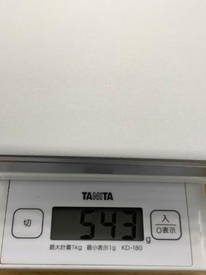 製品仕様に重量の記載は無い。パッケージには520グラムと記載されているが、実際に測ると543グラムだった