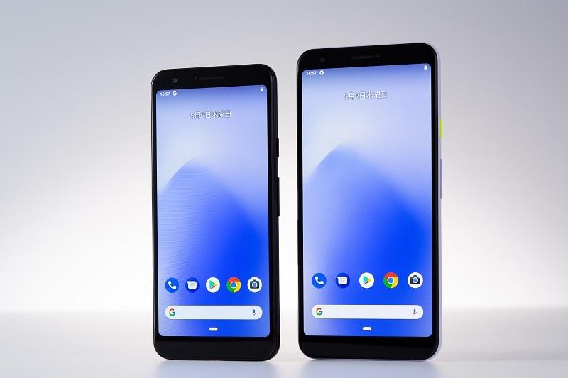 5.6インチディスプレーのスマートフォン「Pixel 3a」(左)と、6インチの「Pixel 3a XL」(右) (写真:スタジオキャスパー)