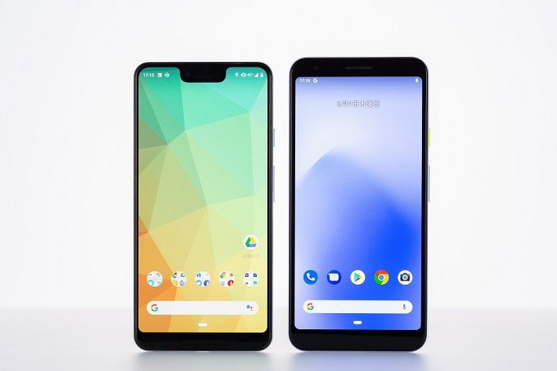 Pixel 3 XL(左)はカメラ周囲までディスプレーにするノッチデザインだが、Pixel 3a XL(右)はPixel 3a同様のデザインになっている (写真:スタジオキャスパー)