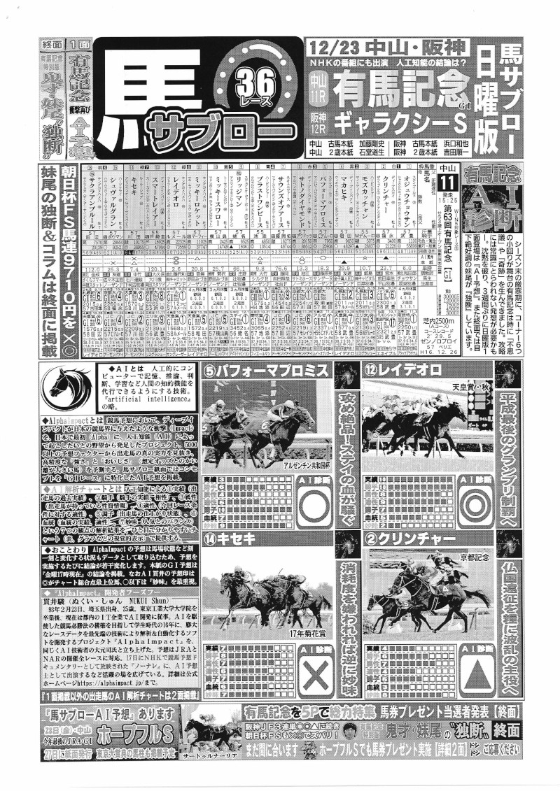 マルチコピー機で出力した、デイリースポーツが発行している競馬新聞「馬サブロー」。シャープがサンプルとして提供している記事を掲載した。価格はレースやコンテンツで異なり、100円~600円(税込み) (出所:シャープ)
