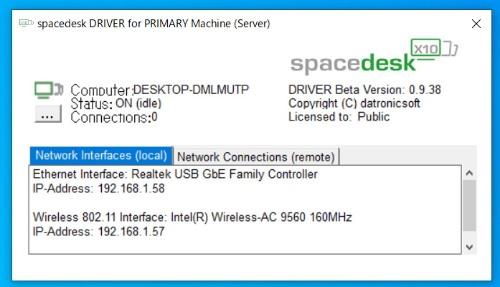 タスクトレイにあるspacedeskのアイコンをクリックすると、PCのIPアドレスなどが表示される