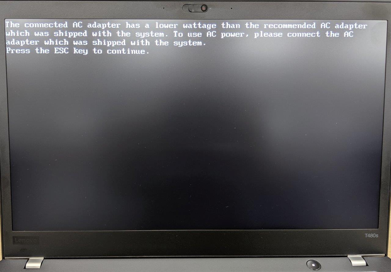 ThinkPad T480sにPowerPort Atom PD 1を接続して起動すると表示される画面 (撮影:湯浅 英夫)