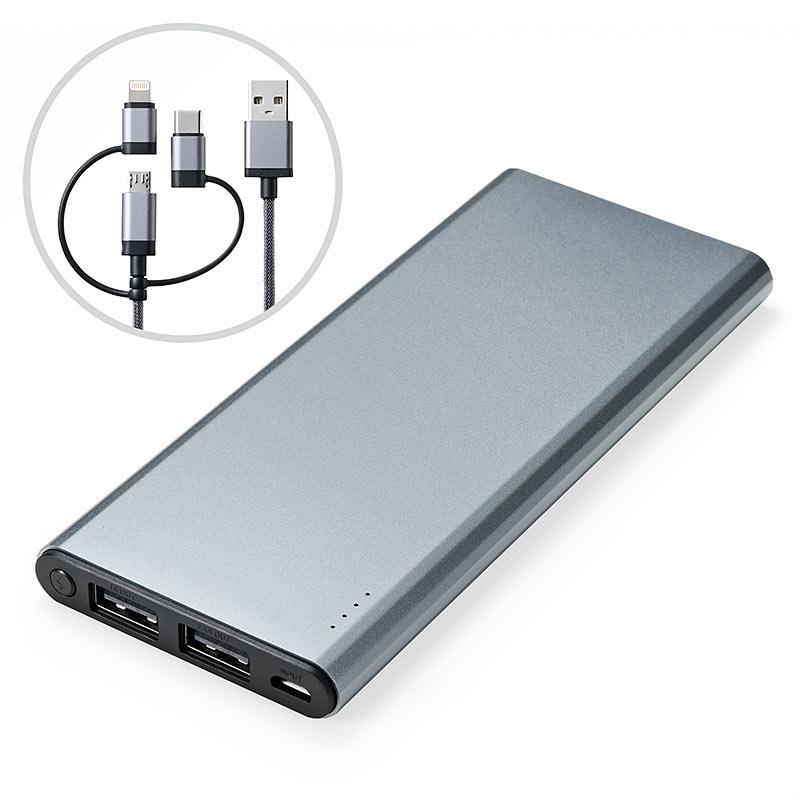 「700-BTL031GY」(3480円)/バッテリー容量:5000mAh/出力:5V/2.4A(2ポート合計)/入力:5V/2A/サイズ:136×58×11 mm、140g/付属品:Lightning・microUSB・USB Type-C対応3in1ケーブル