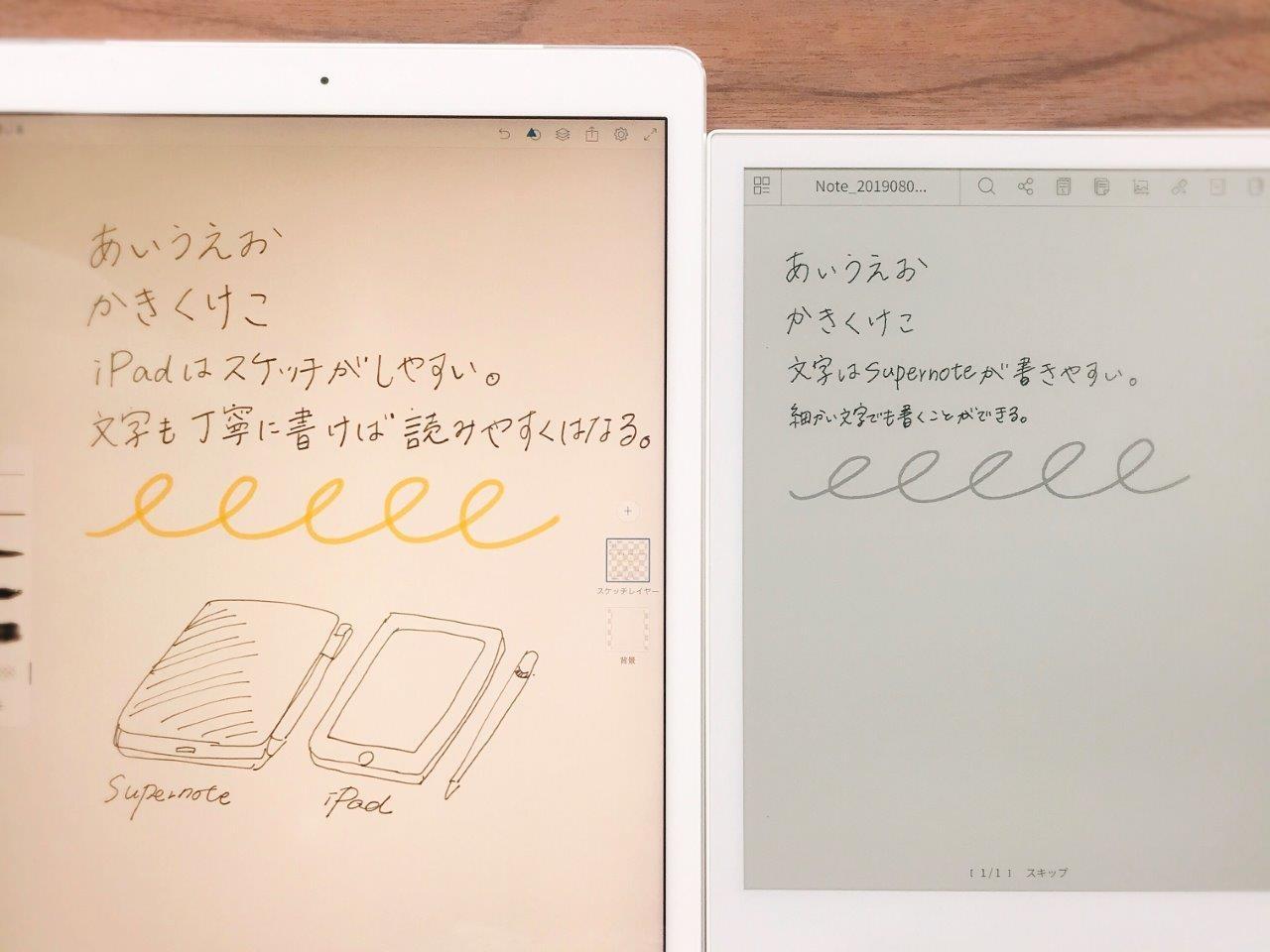 iPad Pro(左)とSupernote(右)の比較。細かい文字はSupernoteのほうが書きやすい