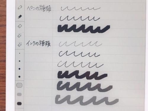 画面の左側に触れるとペン先の太さ、インクの濃さ、ペンの種類などを選択できる。資料の校正やノートの強調箇所には薄いグレーのマーカーを併用すると見やすい