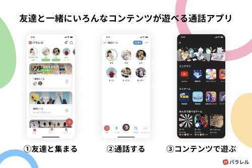 通話SNSアプリ「パラレル」はコミュニケーションを楽しむ機能も用意している