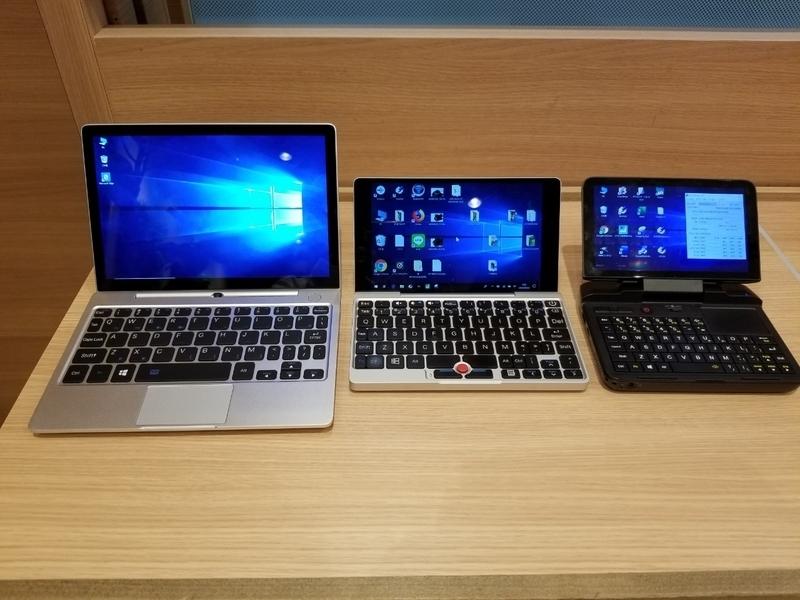 GPDの歴代UMPC。左から8.9インチのGPD P2 Max、7インチのGPD Pocket、6インチのGPD MicroPC