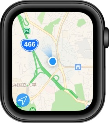 「マップ」アプリで向いている方向が、iPhoneの「マップ」と同様に青いグラデーションで示されるようになった。Series 4までは、現在地が青丸で表示されるだけだった