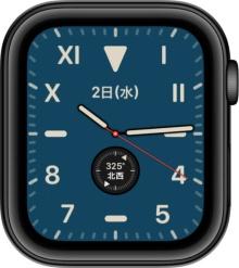 watchOS 6.0で追加された文字盤の1つ「カリフォルニア」。ベゼルレスのApple Watch Series 5を生かした文字盤だ