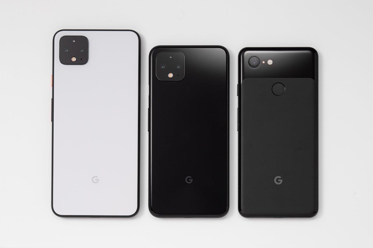 左からPixel 4 XL、Pixel 4、Pixel 3 (撮影:スタジオキャスパー)