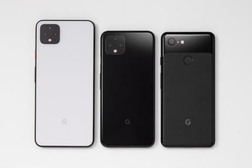 左からPixel 4 XL、Pixel 4、Pixel 3