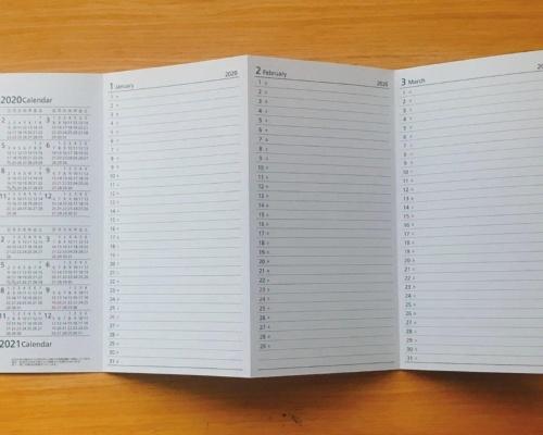 ジグザグに折られた「経文折り」と呼ばれる折り方。表面・裏面合わせて14ページある