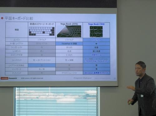 一般的なスクリーンキーボードと以前の「Yoga Book」の仮想キーボード、Yoga Book C930のE Inkキーボードの機能を比較して説明する戸田良太氏