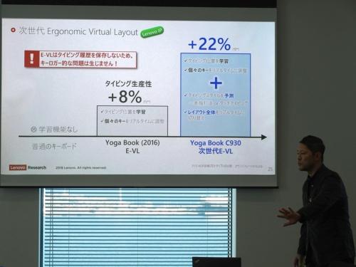 100人近いユーザーテストで新しいE Inkキーボードで22%のタイピング生産性の向上が確認できた。戸田氏は、学習機能を持つが入力履歴は保存しないためキーロガーのリスクはないと説明する