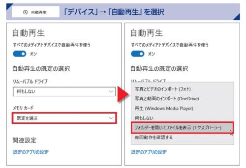 接続したことのあるメディアが表示されるので、設定したい項目の動作をクリック。動作の一覧から既定にしたいものを選択する