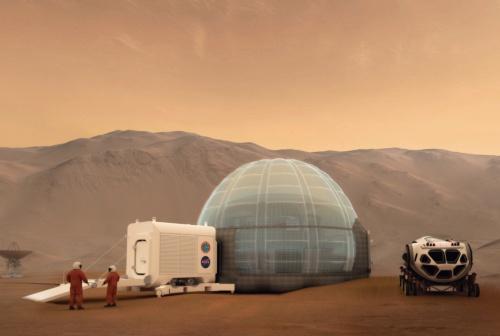 〔図1〕米設計事務所のClouds Architecture Officeが、米航空宇宙局(NASA)と共同で技術研究を進める火星有人探査基地の「マーズ・アイス・ホーム(MIH)」。平均気温が氷点下43℃という火星の極寒の環境を生かして、3Dプリンターで氷で外壁をつくる(出所:NASA / Clouds AO / SEArch)