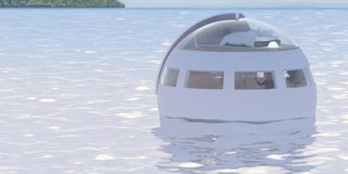〔図1〕プロジェクト構想段階の移動式水上ホテルのイメージ。球体型の2階建てで客室に浴室、トイレなどを備える。船などで引っ張って移動させる。2018年中の開業を目指している(出所:ハウステンボス)