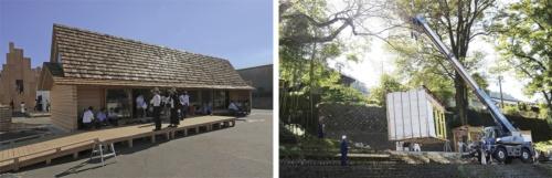 〔写真2〕左は、2016年夏に東京・青海で開かれた「HOUSE VISION2」で吉野杉の家を展示している様子。右は、吉野町の敷地に移築している様子(撮影:左は安川 千秋、右は南工務店)