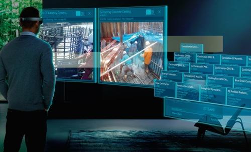 〔図1〕小柳建設(新潟県三条市)が日本マイクロソフトと連携して開発している「ホロストラクション」の活用イメージ(出所:小柳建設)