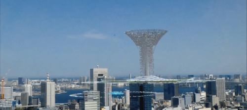 〔写真3〕建設予定の建物などを現実世界の都市に重ね合わせることで、スケール感や街並みとの調和なども確認できる(撮影:清水建設)