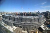 施工中の新国立競技場。2018年10月に撮影(写真:日本スポーツ振興センター)
