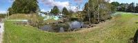 2018年9月に発生した地震でルーラルビレッジ内の地盤が変状した時の様子。池の周囲で円弧状のすべりが発生。厚真町は震度7を観測した