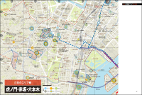 「東京大改造マップ2019-20XX」より。「虎ノ門・赤坂・六本木」エリアのマップ。同書ではほかに、「日八京・大丸有」「品川・田町・浜松町/羽田」「有明・豊洲・晴海」「渋谷・神宮外苑」「新宿」「池袋」「横浜」を合わせた8エリアに関し、オリジナルのマップを使いながら大規模開発プロジェクトの動向を解説している