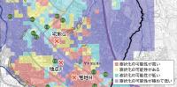 リスクが1番低い判定箇所で液状化が発生 札幌市が公表している液状化危険度図の上に、液状化が発生した3カ所を記した。地点Fは、液状化の可能性が極めて低いと表示されていた