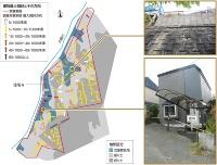 1000分の10以上傾いた住宅が50戸以上 北広島市大曲並木3丁目の造成地に立つ住宅の、最大傾斜と傾斜の向きを記した。1000分の10以上傾いた住宅が50戸以上に達した。大きく傾いた住宅は、谷を埋めた川沿いの氾濫原低地に多く見られる。右上の写真は、地震で損傷した擁壁。この擁壁の下に住宅がある。右下の写真は、川沿いの擁壁の反対側で盛り土がすべって地盤の下に空洞が生じた住宅