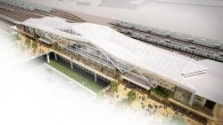 品川新駅の鳥瞰イメージ。日本の伝統的な折り紙をモチーフとした大屋根が特徴だ(資料:JR東日本)
