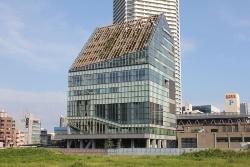 ららぽーと豊洲のある西側から見た江東区豊洲シビックセンターの全景。手前の空き地には超高層2棟が建設予定(写真:日経アーキテクチュア)
