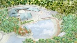 実施設計時の全体の完成イメージ。新生美術館は、滋賀県大津市の「びわこ文化公園」内に整備する。左手の緑色の屋根が既存施設(資料:滋賀県)