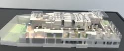 オフィスエントランスロビーの断面模型。天井には、かまぼこ 屋根を継承したルーフを架ける