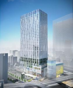 北西から見る「渋谷ストリーム(SHIBUYA STREAM)」の外観イメージ。地下4階・地上35階で、高さは約180m。敷地面積は約7100m2、建築面積は約5700m2、延べ面積は約11万6700m2(資料:東京急行電鉄)