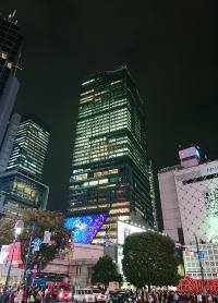かなり遠くからでも見える、夜の「渋谷スクランブルスクエア」。渋谷の目印になった