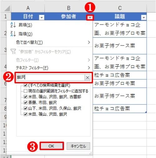 「参加者」の「フィルター」ボタンで、「検索」に「飯沢」と入力する