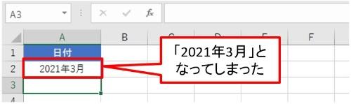 すると勝手に「2021年3月」となってしまった。何でこんな簡単な入力が表示できないのか