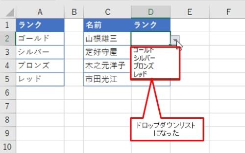 D列のセルを選択すると、右横に「▼」ボタンが現れる。この「▼」ボタンをクリックすると指定した値がメニューとして表示される