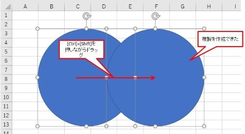 [Shift]キーを押しながらシート上をドラッグして、適当な大きさの正円を作成する。続いて[Ctrl]+[Shift]キーを押しながら作成した円を右側にドラッグして複製を作る