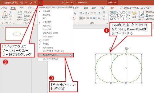 Excel側で作った背景色が白で互いに重なる2つの円をカットして、PowerPointにペーストする。次にPowerPointの「クイックアクセスツールバーのユーザー設定」をクリックして、「その他のコマンド」を選ぶ